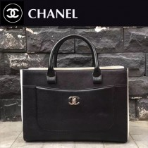 CHANEL-028 新款標誌性雙C扣醒目logo鎖扣 春夏拼色黑白手提包通勤包
