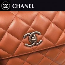CHANEL-92236-2 最新色焦糖色進口小羊皮內裡三個隔層三用包手提肩背斜挎包