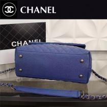 CHANEL 0568-2 潮流百搭新款藍色牛皮中號手袋手提單肩包