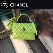 CHANEL-92236-3 最新色橄欖綠進口小羊皮內裡三個隔層三用包手提肩背斜挎包