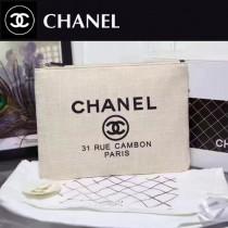 CHANEL 0565-2 時尚休閒女士白色帆布拉鏈手拿包