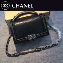 CHANEL-022-5 leboy羅馬手工坊系列菱格紋鏈條單肩斜挎包