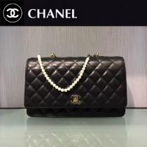 CHANEL-025 經典口蓋款帶人造珍珠鏈新款黑色單肩斜挎包