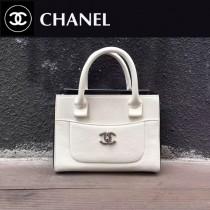CHANEL-028-2 新款標誌性雙C扣醒目logo鎖扣 春夏拼色黑白手提包通勤包