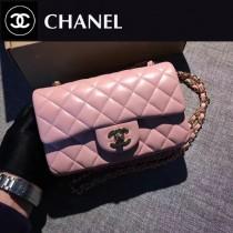 CHANEL-035-4 新色粉色色CF羊皮菱格紋金扣單肩斜挎包