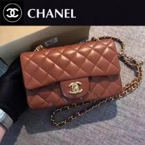 CHANEL-035-2 新色焦糖色CF羊皮菱格紋金扣單肩斜挎包