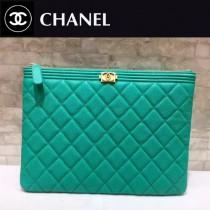 CHANEL-033-2 新款新色湖水綠進口球紋牛皮手包手拿包