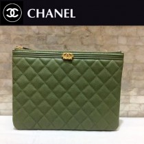 CHANEL-033 新款新色抹茶綠進口球紋牛皮手包手拿包