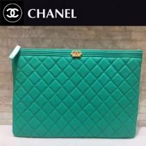 CHANEL-034-2 新款新色湖水綠進口球紋牛皮手包手拿包