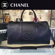 CHANEL-037 原版小牛皮黑色旅行袋