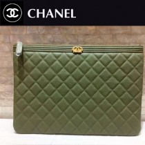 CHANEL-034 新款新色抹茶綠進口球紋牛皮手包手拿包