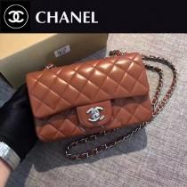 CHANEL-035 新色焦糖色CF羊皮菱格紋銀扣單肩斜挎包