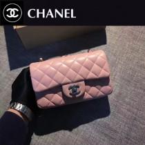 CHANEL-035-3 新色粉色CF羊皮菱格紋銀扣單肩斜挎包