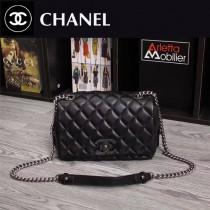 CHANEL 6081 專櫃限量版黑色菱格紋小羊皮單肩斜挎包