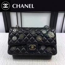 CHANEL 1112-43 高貴奢侈復古錢幣徽章CF黑色羊皮單肩斜挎包