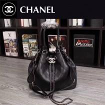 CHANEL 6015 時尚休閒新款黑色胎牛皮抽繩水桶包手提單肩包