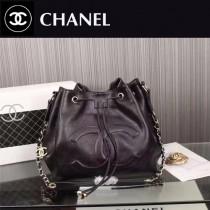 CHANEL 5083 人氣新款女士黑色球紋小牛皮束口單肩水桶包