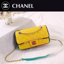 CHANEL A108-2 專櫃限量版古巴系列拼色小羊皮單肩斜挎包