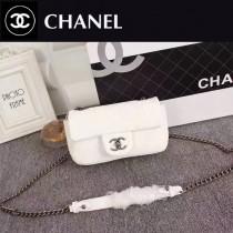 CHANEL 92256 人氣熱銷單品白色球紋皮單肩斜挎包口蓋包