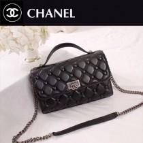 CHANEL 6062 夏季新款菱格繡花配紐扣設計黑色羊皮手提單肩包