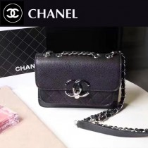 CHANEL 606-2 專櫃最新菱格縫線黑色小牛皮單肩斜跨包