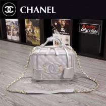 CHANEL 6070-4 甜美可愛淑女風銀色魚子醬牛皮手提單肩包化妝包