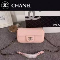 CHANEL 92256-2 人氣熱銷單品粉色球紋皮單肩斜挎包口蓋包