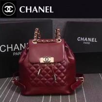 CHANEL 6820-2 春夏最新款女士紅色牛皮束口雙肩包書包