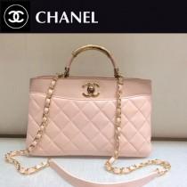 CHANEL-038 原版羊皮里外全皮羊皮手柄粉色手提斜挎包