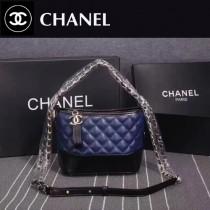 CHANEL 8108-4 大表姐劉雯宋茜同款Gabrielle藍配黑牛皮雙色五金小號手袋流浪包