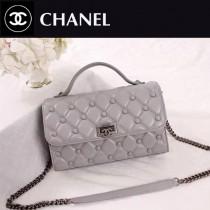 CHANEL 6062-2 夏季新款菱格繡花配紐扣設計灰色羊皮手提單肩包