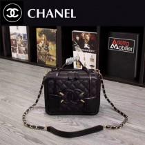 CHANEL 6070 甜美可愛淑女風黑色牛皮手提單肩包化妝包