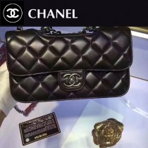 CHANEL 6088-2 最新做法孟買系列菱格紋黑色羊皮單肩斜挎包