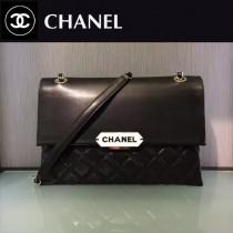 CHANEL-044 新款小羊皮翻蓋字母銘牌鏈條意大利原廠頂級小羊皮手提包手拿包