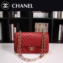 CHANEL 1112-44 人氣經典款V格紋紅色羊皮單肩斜挎包