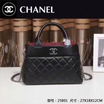 CHANEL 25801-3 最新爆款女士黑色羊皮配棉布手提單肩包