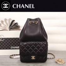 CHANEL 67160-2 歐美個性新款Backpack黑色羊皮束口雙肩包書包