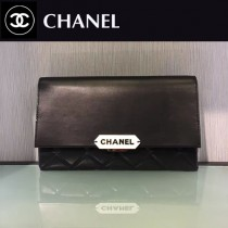 CHANEL-045 新款小羊皮翻蓋字母銘牌鏈條意大利原廠頂級小羊皮手提包手拿包