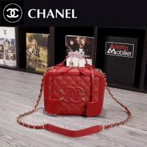 CHANEL 6070-5 甜美可愛淑女風紅色魚子醬牛皮手提單肩包化妝包