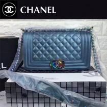 CHANEL 67086-35 專櫃最新LEBOY藍金色鹿紋牛皮配彩虹五金單肩斜挎包