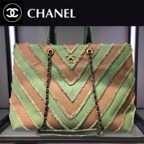 CHANEL-039-2 專櫃16櫥窗最新款V紋購物布包進口洗水牛仔布復古古金五金購物包