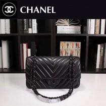 CHANEL 1112-45 人氣經典款V格紋黑色羊皮單肩斜挎包