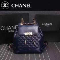 CHANEL 6820 春夏最新款女士藍色牛皮束口雙肩包書包