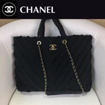 CHANEL-039 專櫃16櫥窗最新款V紋購物布包進口洗水牛仔布復古古金五金購物包