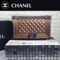 CHANEL 67086-36 專櫃最新LEBOY香檳金鹿紋牛皮配彩虹五金單肩斜挎包