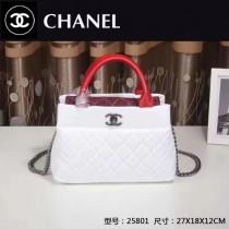 CHANEL 25801 最新爆款女士白色羊皮配紅色手腕配棉布手提單肩包
