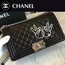 CHANEL 6013 專櫃新品OK手勢LEBOY黑色小羊皮單肩斜挎包