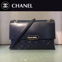 CHANEL-044-3 新款小羊皮翻蓋字母銘牌鏈條意大利原廠頂級小羊皮手提包手拿包