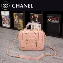CHANEL 6070-6 甜美可愛淑女風粉色魚子醬牛皮手提單肩包化妝包
