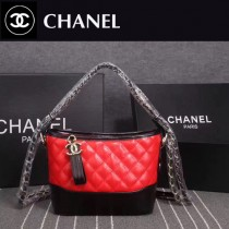 CHANEL 8108-5 大表姐劉雯宋茜同款Gabrielle紅配黑牛皮雙色五金小號手袋流浪包
